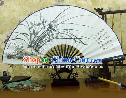 Traditional Chinese Crafts Ebonize Folding Fan, China Sensu Ink Painting Orchid Silk Fan Hanfu Fans for Men