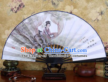 Traditional Chinese Crafts Ebonize Folding Fan, China Sensu Ink Painting Beauty Silk Fan Hanfu Fans for Men