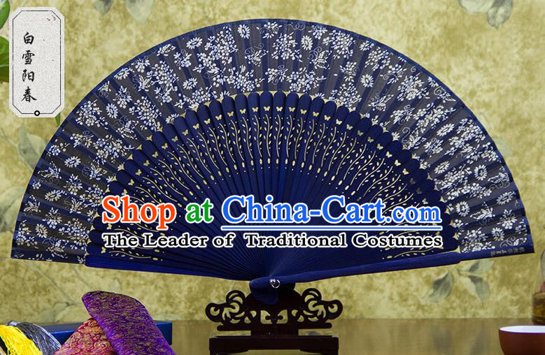 Traditional Chinese Crafts Blue Folding Fan, China Sensu Spring Snow Silk Fan Hanfu Fans for Women