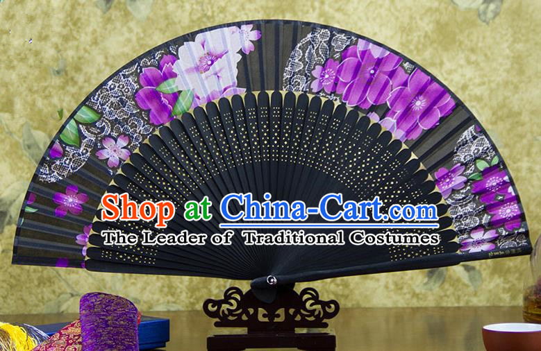Traditional Chinese Handmade Crafts Folding Fan, China Sensu Ink Painting Purple Flowers Silk Fan Hanfu Fans for Women