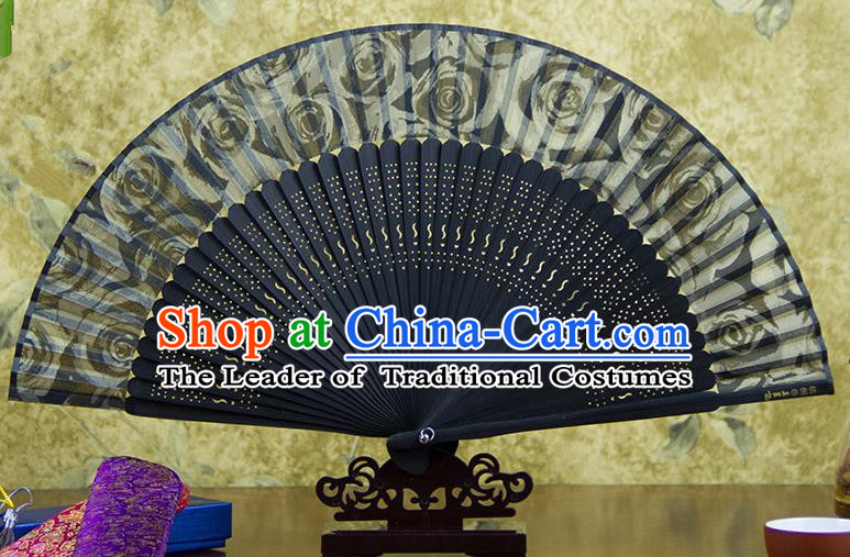 Traditional Chinese Handmade Crafts Black Folding Fan, China Sensu Ink Painting Flowers Silk Fan Hanfu Fans for Women