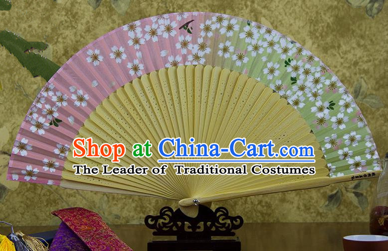 Traditional Chinese Handmade Crafts Gradient Pink Folding Fan, China Sensu Printing Oriental Cherry Silk Fan Hanfu Fans for Women