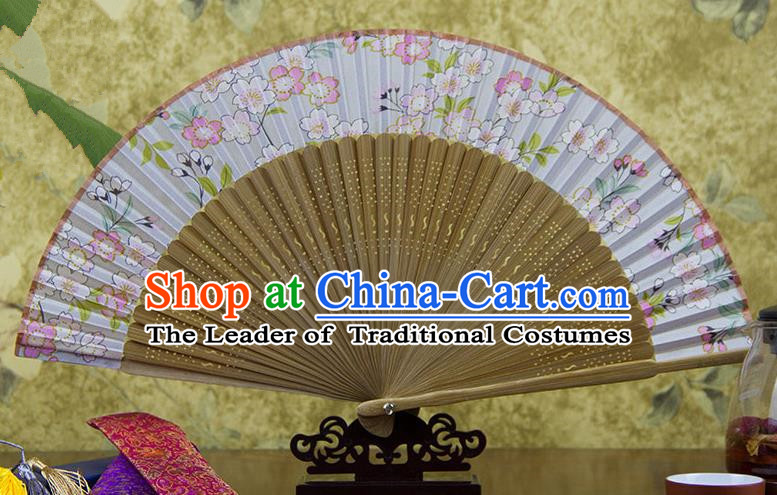 Traditional Chinese Handmade Crafts Pink Folding Fan, China Sensu Printing Peach Flowers Silk Fan Hanfu Fans for Women