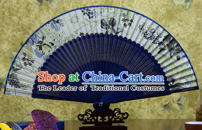 Traditional Chinese Handmade Crafts Royalblue Folding Fan, China Sensu Printing Flowers Silk Fan Hanfu Fans for Women