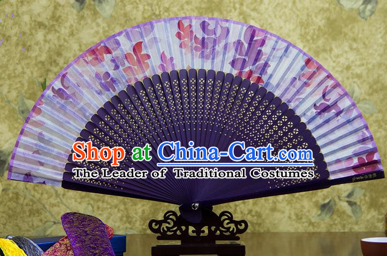 Traditional Chinese Handmade Crafts Purple Folding Fan, China Sensu Printing Flowers Silk Fan Hanfu Fans for Women