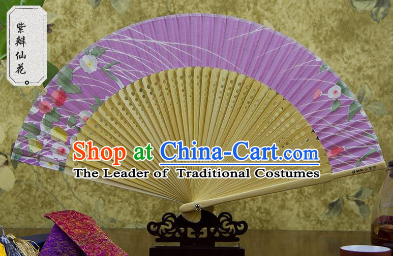Traditional Chinese Handmade Crafts Lilac Folding Fan, China Sensu Printing Flowers Silk Fan Hanfu Fans for Women