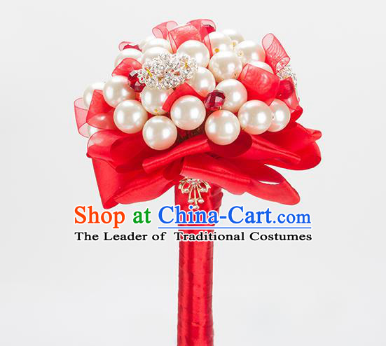 Top Grade Classical Wedding Bride Red Ribbon Flowers Holding Emulational Flowers Ball, Crystal Hand Tied Bouquet Flowers for Women