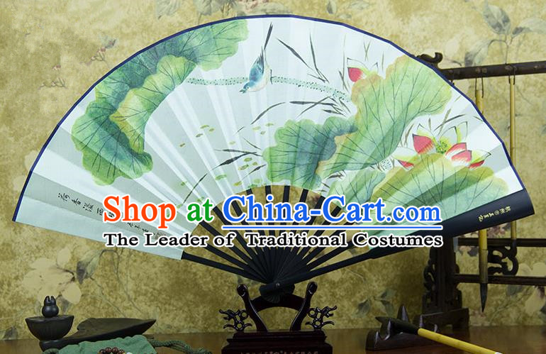 Traditional Chinese Handmade Crafts Ebonize Folding Fan, China Sensu Painting Lotus Silk Fan Hanfu Fans for Men