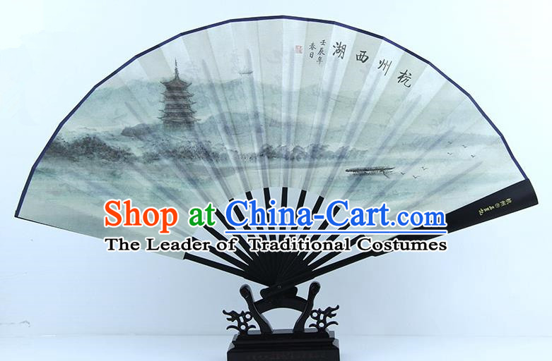 Traditional Chinese Handmade Crafts Ebonize Folding Fan, China Sensu Painting Hangzhou West Lake Scenery Silk Fan Hanfu Fans for Men