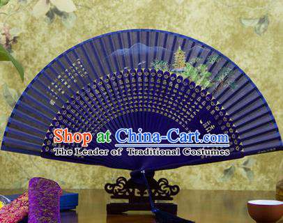 Traditional Chinese Handmade Crafts Folding Fan, China Sensu Painting Hangzhou West Lake Leifeng Pagoda Silk Fan Hanfu Fans for Women