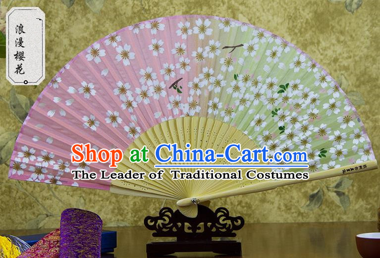 Traditional Chinese Handmade Crafts Folding Fan, China Pink Printing Oriental Cherry Sensu Silk Fan Hanfu Fans for Women