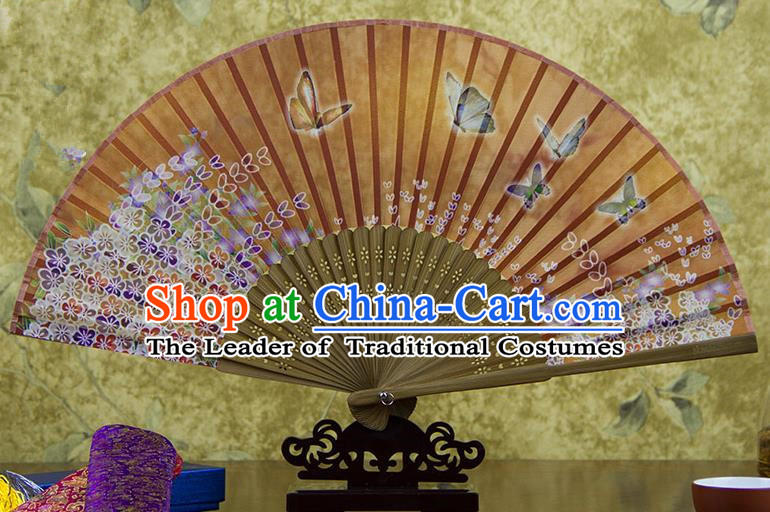 Traditional Chinese Handmade Crafts Folding Fan, China Green Printing Butterfly Flowers Sensu Orange Silk Fan Hanfu Fans for Women