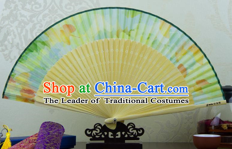 Traditional Chinese Handmade Crafts Folding Fan, China Green Printing Flowers Sensu Green Silk Fan Hanfu Fans for Women