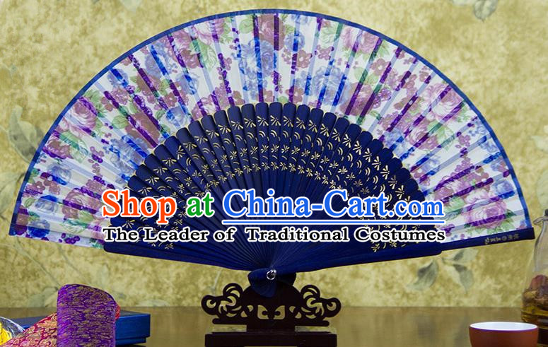 Traditional Chinese Handmade Crafts Folding Fan, China Printing Flowers Sensu Purple Silk Fan Hanfu Fans for Women