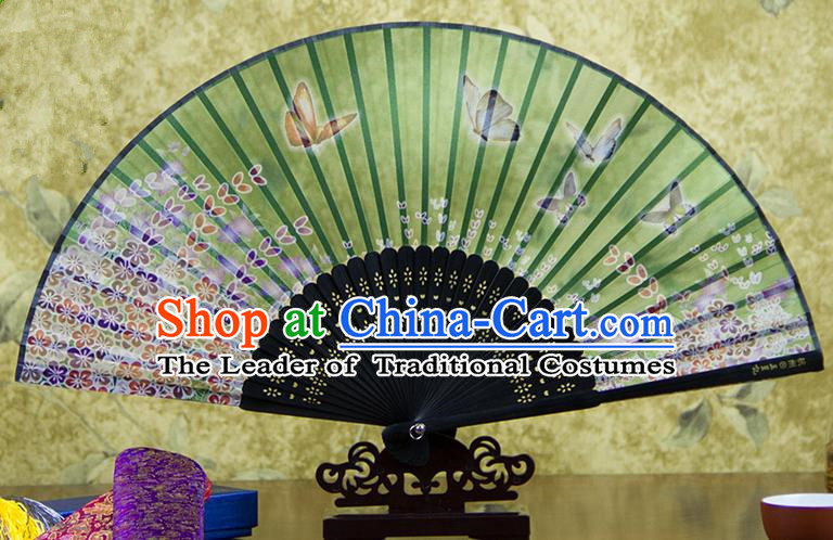 Traditional Chinese Handmade Crafts Folding Fan, China Printing Butterfly Flowers Sensu Green Silk Fan Hanfu Fans for Women