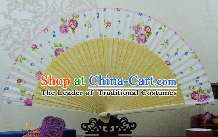 Traditional Chinese Handmade Crafts Folding Fan, China Printing Rose Sensu White Silk Fan Hanfu Fans for Women