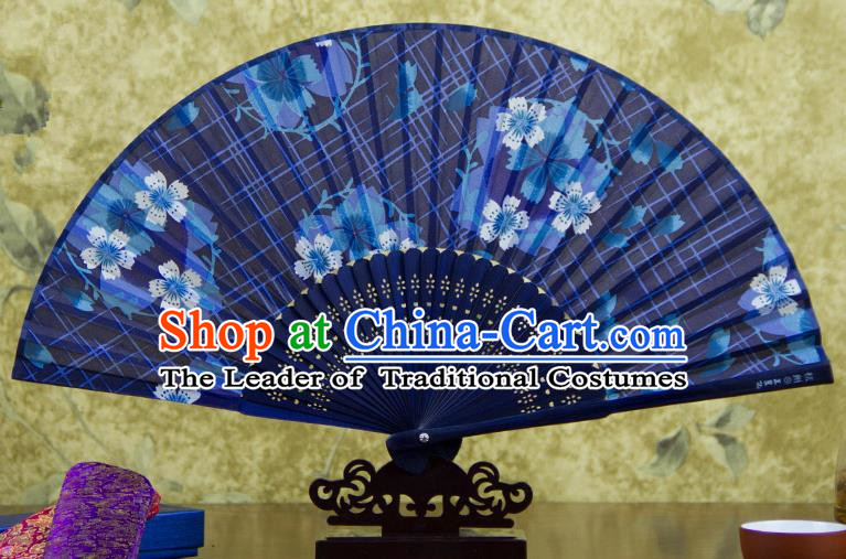 Traditional Chinese Handmade Crafts Folding Fan, China Printing Flowers Sensu Blue Silk Fan Hanfu Fans for Women