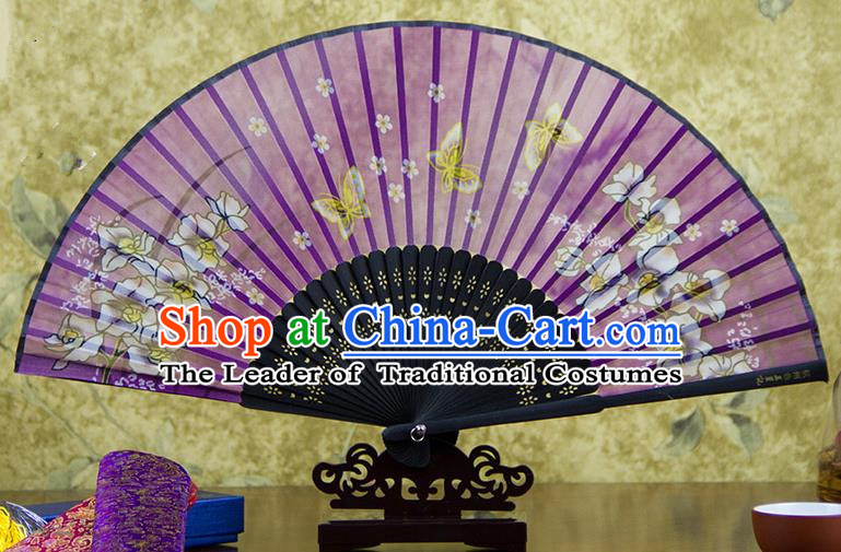 Traditional Chinese Handmade Crafts Folding Fan, China Printing Butterfly Sensu Purple Silk Fan Hanfu Fans for Women