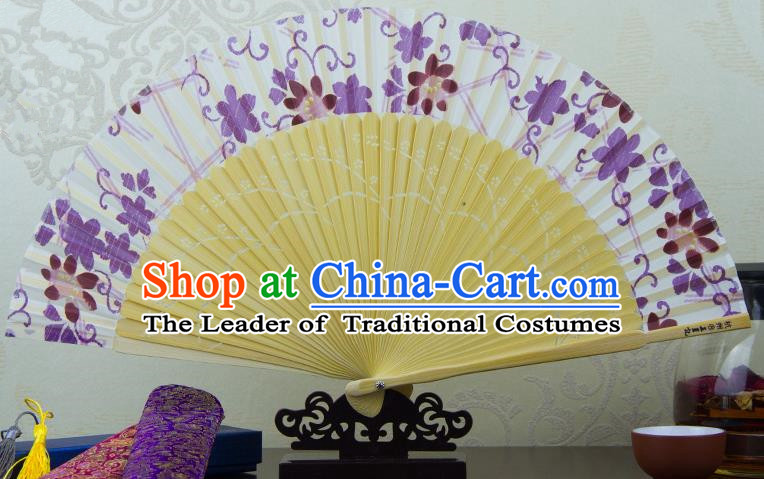 Traditional Chinese Handmade Crafts Folding Fan, China Printing Purple Flowers Sensu Silk Fan Hanfu Fans for Women