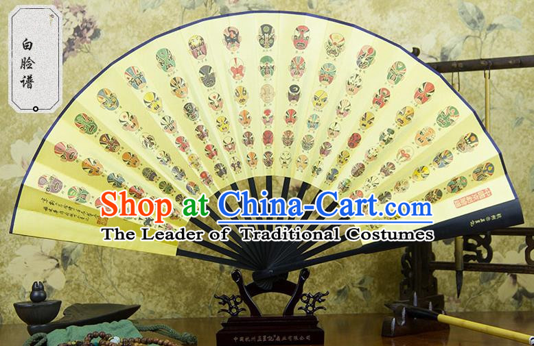 Traditional Chinese Handmade Crafts Ebonize Folding Fan, China Sensu Printing Beijing Opera Facial Masks Silk Fan Hanfu Fans for Men