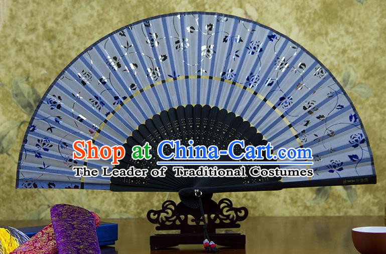 Traditional Chinese Handmade Crafts Two-segment Folding Fan, China Printing Rose Flowers Sensu Blue Silk Fan Hanfu Fans for Women