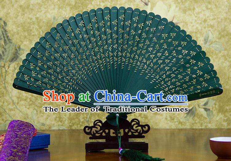 Traditional Chinese Handmade Crafts Bamboo Carving Folding Fan, China Classical Printing Dragonfly Sensu Hollow Out Wood Green Fan Hanfu Fans for Women