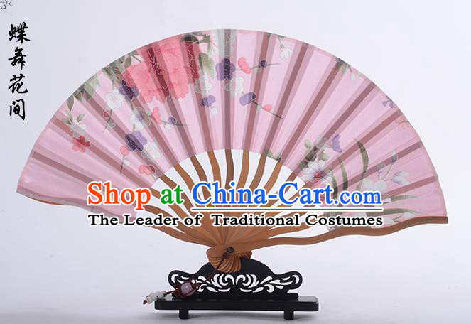 Traditional Chinese Handmade Crafts Folding Fan, China Printing Flower Sensu Pink Silk Fan Hanfu Fans for Women