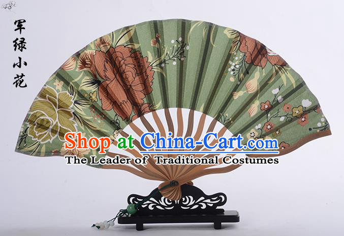 Traditional Chinese Handmade Crafts Folding Fan, China Printing Flower Sensu Green Silk Fan Hanfu Fans for Women