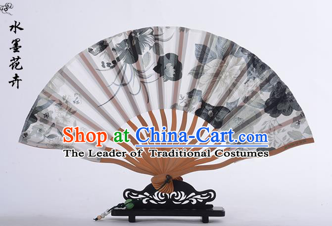 Traditional Chinese Handmade Crafts Folding Fan, China Ink Painting Flower Sensu Silk Fan Hanfu Fans for Women