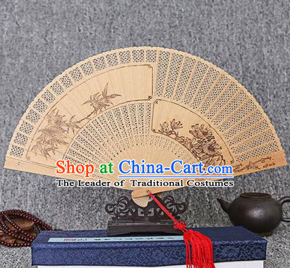 Traditional Chinese Handmade Crafts Sandalwood Folding Fan, China Classical Bamboo and Chrysanthemum Sensu Hollow Out Wood Fan Hanfu Fans for Women
