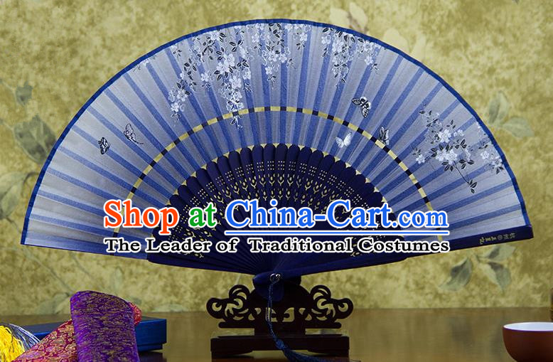 Traditional Chinese Handmade Crafts Two-segment Folding Fan, China Printing Butterfly Sensu Blue Silk Fan Hanfu Fans for Women