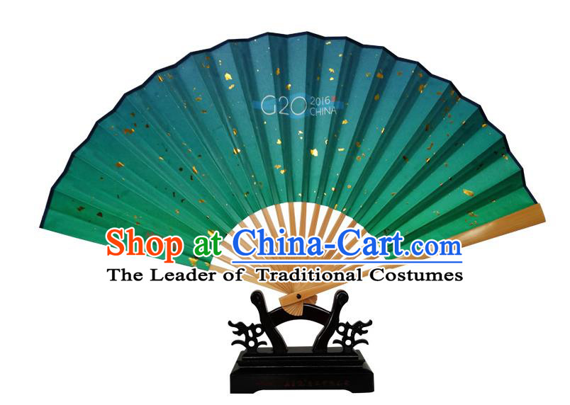 Traditional Chinese Handmade Crafts Folding Fan, China Classical Art Paper Sensu Green Xuan Paper Fan Hanfu Fans for Men