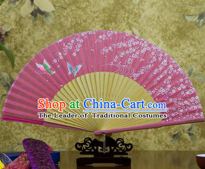 Traditional Chinese Handmade Crafts Bamboo Rib Folding Fan, China Classical Printing Butterfly Sensu Pink Silk Fan Hanfu Fans for Women