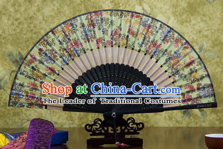 Traditional Chinese Handmade Crafts Two-segment Folding Fan, China Printing Flowers Sensu Green Silk Fan Hanfu Fans for Women