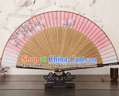 Traditional Chinese Handmade Crafts Bamboo Rib Folding Fan, China Classical Printing Peach Flowers Sensu Gradient Pink Silk Fan Hanfu Fans for Women