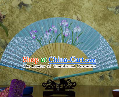 Traditional Chinese Handmade Crafts Bamboo Rib Folding Fan, China Classical Printing Orchid Sensu Blue Silk Fan Hanfu Fans for Women
