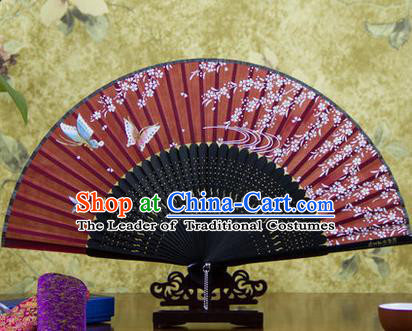 Traditional Chinese Handmade Crafts Bamboo Rib Folding Fan, China Classical Printing Butterfly Flowers Sensu Red Silk Fan Hanfu Fans for Women
