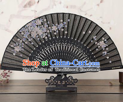 Traditional Chinese Handmade Crafts Bamboo Rib Folding Fan, China Classical Printing Pear Flowers Sensu Black Silk Fan Hanfu Fans for Women