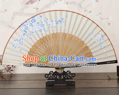 Traditional Chinese Handmade Crafts Bamboo Rib Folding Fan, China Classical Printing Peach Flowers Sensu White Silk Fan Hanfu Fans for Women