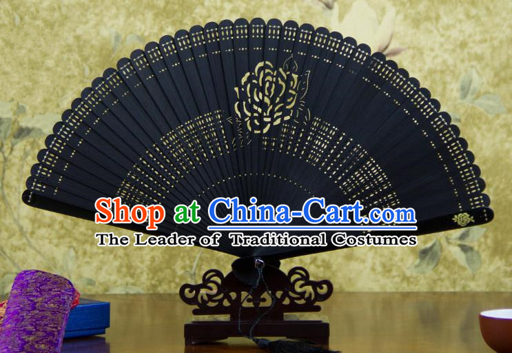 Traditional Chinese Handmade Crafts Bamboo Carving Folding Fan, China Classical Printing Rose Sensu Hollow Out Wood Black Fan Hanfu Fans for Women