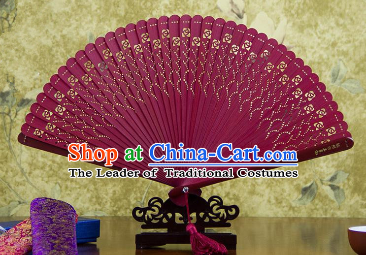 Traditional Chinese Handmade Crafts Bamboo Carving Folding Fan, China Classical Printing Flowers Sensu Hollow Out Wood Red Fan Hanfu Fans for Women