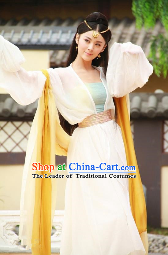 Traditional Ancient Chinese Tang Dynasty Princess Dress Clothing, Chinese Ancient Palace Lady Dance Costume and Headpiece Complete Set