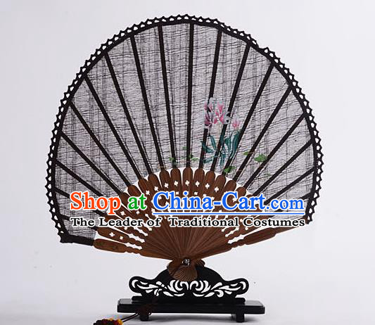 Traditional Chinese Handmade Crafts Hand Painting Flower Folding Fan, China Classical Linen Sensu Sunflower-type Coffee Fan Hanfu Fans for Women
