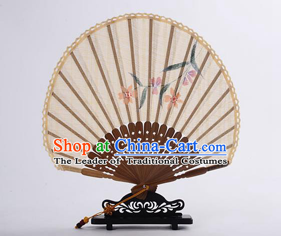 Traditional Chinese Handmade Crafts Hand Painting Flower Folding Fan, China Classical Linen Sensu Sunflower-type Light Yellow Fan Hanfu Fans for Women