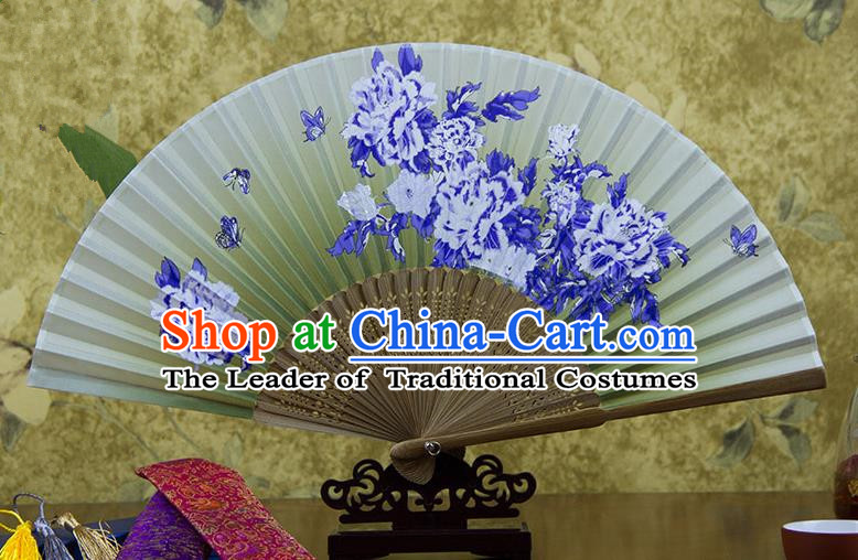 Traditional Chinese Handmade Crafts Hand Painting Butterfly Flowers Folding Fan, China Classical Green Sensu Silk Fan Hanfu Fans for Women