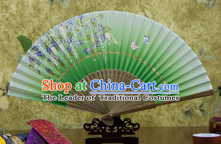 Traditional Chinese Handmade Crafts Hand Painting Butterfly Wisteria Flowers Folding Fan, China Classical Green Sensu Silk Fan Hanfu Fans for Women