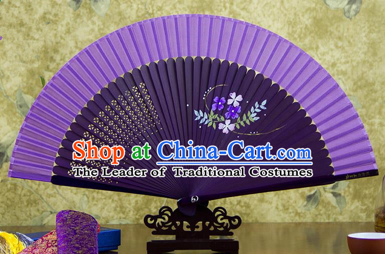 Traditional Chinese Handmade Crafts Hand Painting Flowers Folding Fan, China Classical Purple Sensu Silk Fan Hanfu Fans for Women