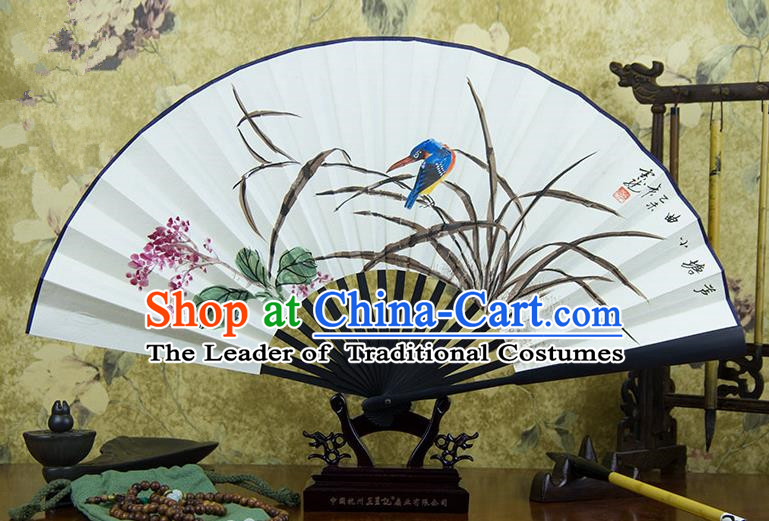 Traditional Chinese Handmade Crafts Ebonize Folding Fan, China Classical Art Paper Sensu Ink Painting Bird Orchid Xuan Paper Purple Fan Hanfu Fans for Men