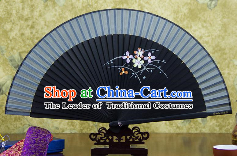 Traditional Chinese Handmade Crafts Hand Painting Flowers Folding Fan, China Classical Grey Sensu Silk Fan Hanfu Fans for Women