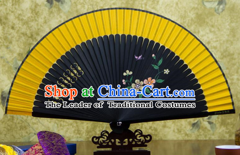 Traditional Chinese Handmade Crafts Hand Painting Flowers Folding Fan, China Classical Orange Sensu Silk Fan Hanfu Fans for Women